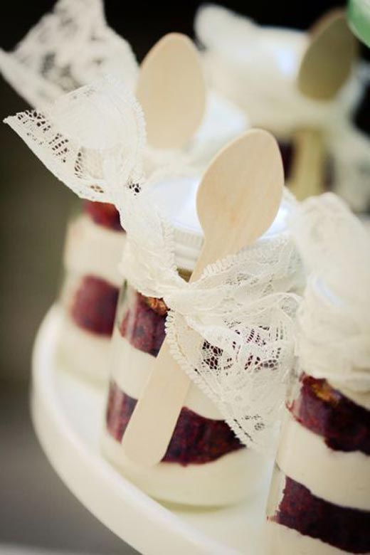 Mason Jar Cake with Lace Ribbon & Spoon