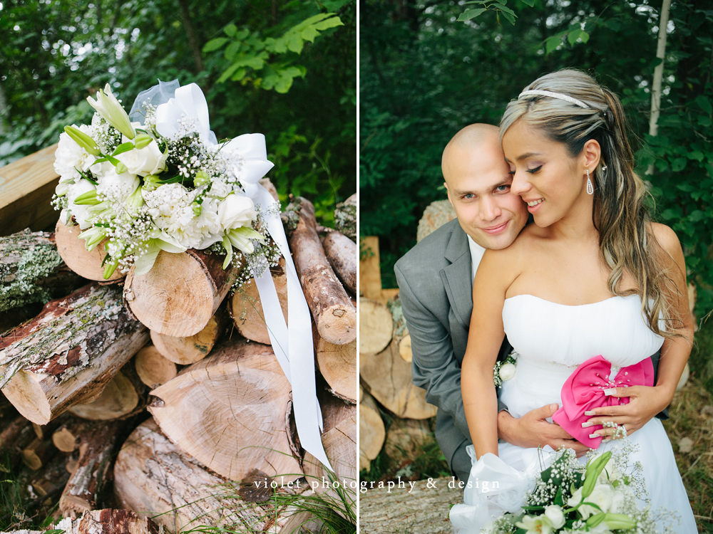 Bride, second wedding dress, flowers on wood, rustic wedding photo