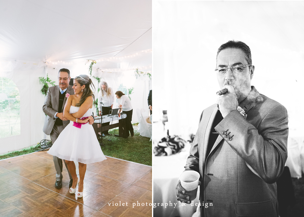 Father of Bride smoking a cigar, bride & father dancing