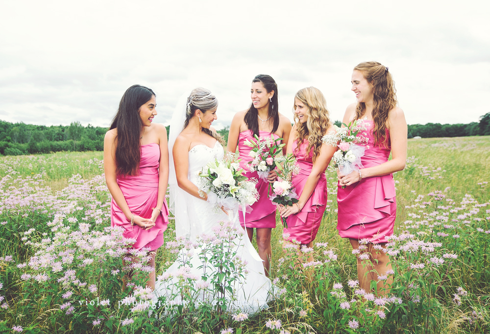 Photographs of Bride with Bridesmaids, pink bridesmaids dresses, romantic wedding