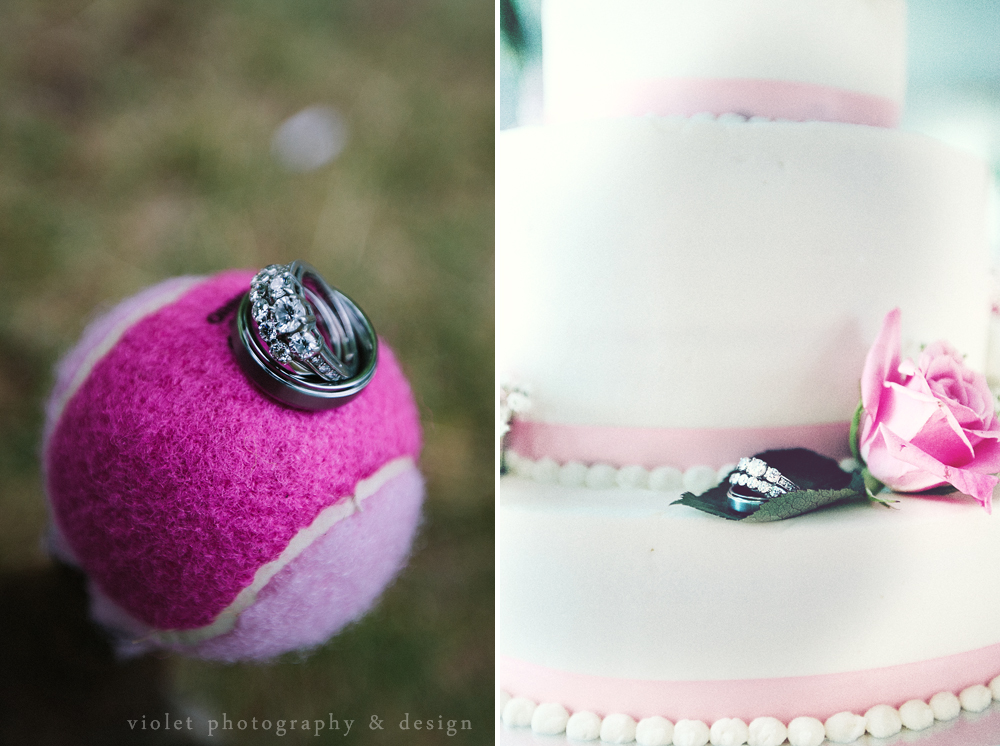 Wedding Rings with tennis ball, wedding rings with cake, creative wedding ring photos
