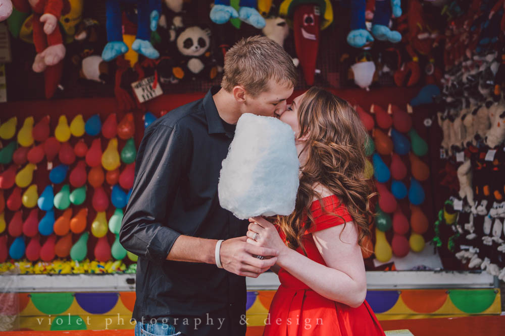 50's inspired engagement shoot with stuffed animals