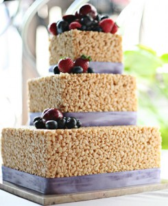 3 tiered Rice Krispie Wedding Cake