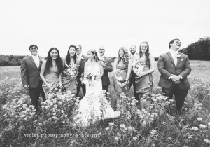 Wedding Party Having Fun in Black & White