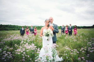 Mermaid wedding gown photographed in a flower field