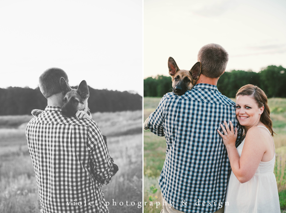 engagement photos with a puppy